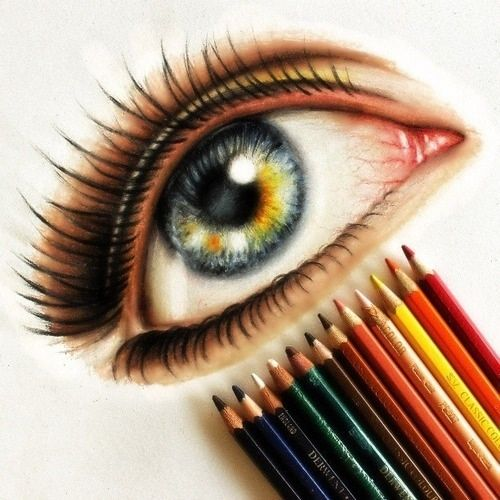 Colored eye drawing by steven gunawan