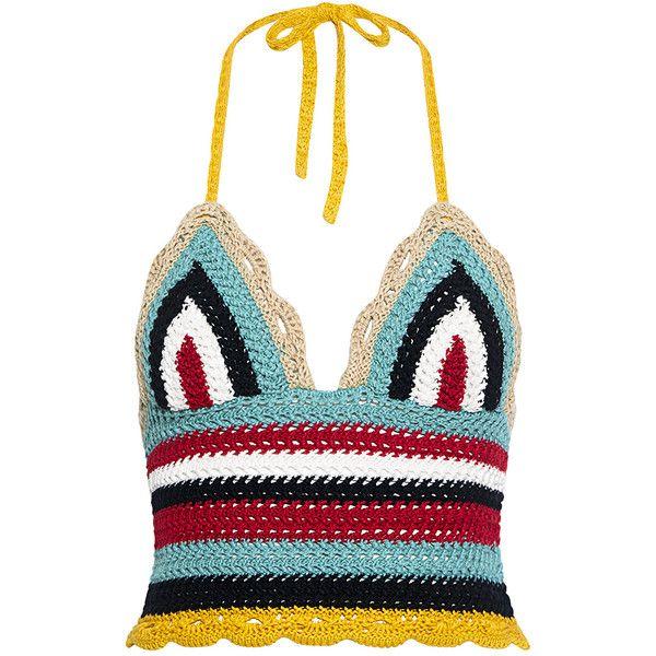 Red Valentino - Rainbow Wave Crochet Tank ($175) ❤ liked on ...