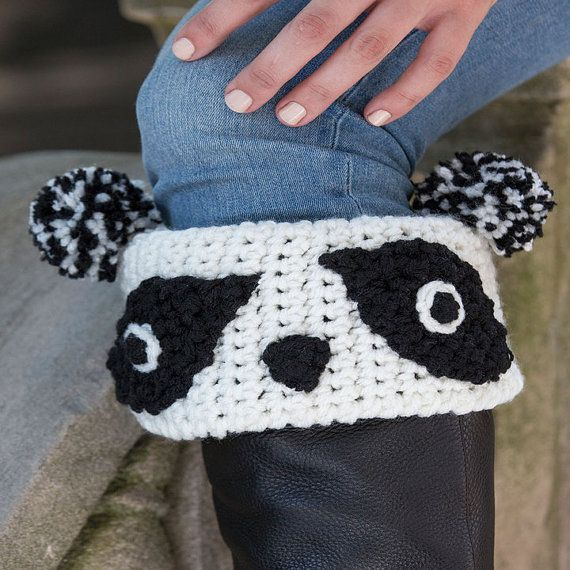 Panda Boot Cuff Crochet by KidzWorld on Etsy | Gifts for Her | Pinterest