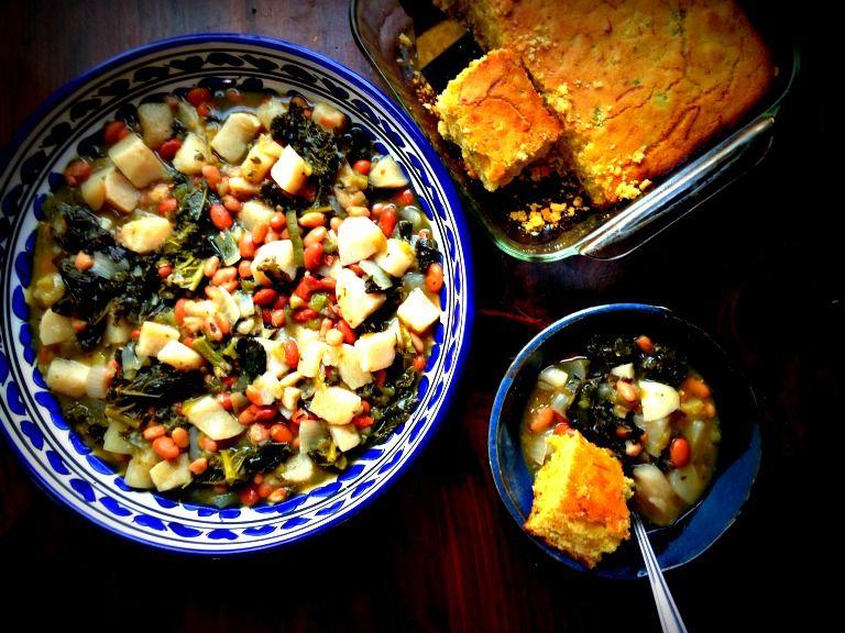Turnip and kale stew with gluten free cornbread
