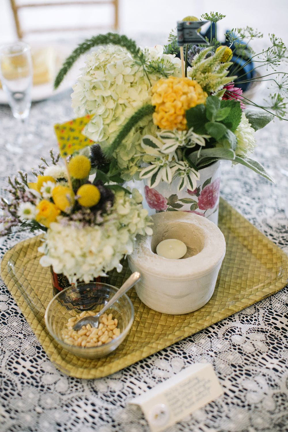 vintage inspired centerpieces // photo by Love Me Do Photography // http://ruffledblog.com/handmade-new-jersey-wedding #flowers #wedding