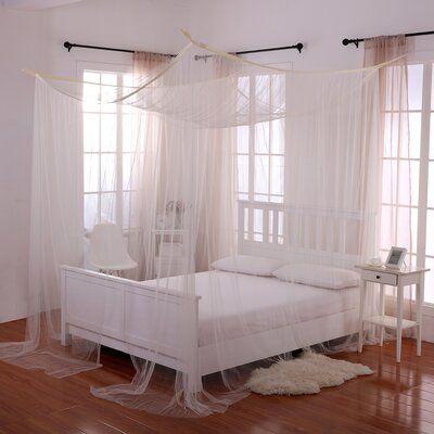Photo of Harrelson 4-Post Bed Sheer Panel Canopy Net | Joss & Main