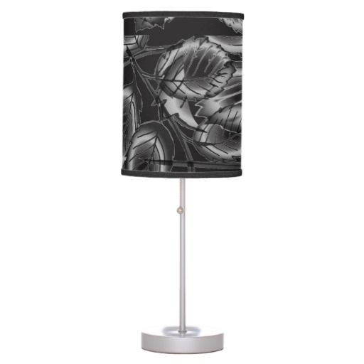 Modern Black and Silver Leaf Pattern Table Lamp
