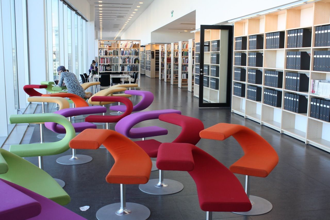 Malm University Library, Sweden. These chairs are so cool ...