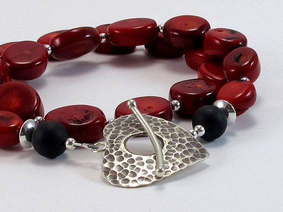 Handmade Necklace Rich Red Coral Necklace by RiverGumJewellery, $80.00