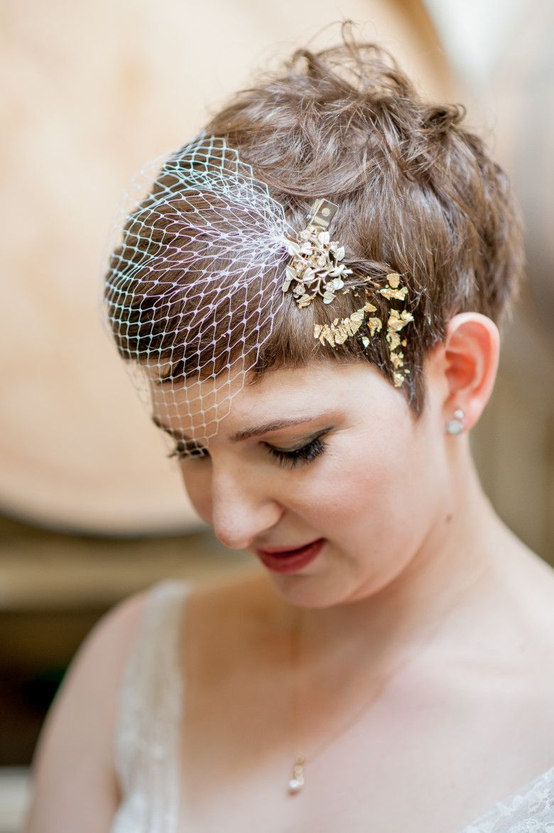 How To Diy A Gold Leafed Short Hair Style A Practical Wedding Pixie Wedding Hair Short Wedding Hair Short Hair Diy
