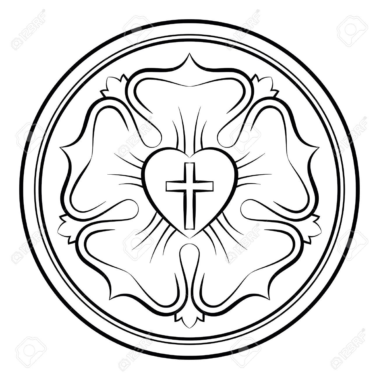Luther Rose Monochrome Calligraphic Illustration Also Luther Seal