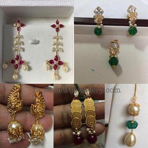 5 To 6 Grams Simple Earrings Jewellery Designs Diamond Jewelry Gold