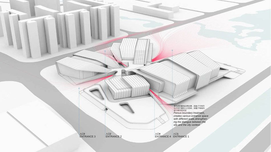 the sports center proposes a new typology for recreational facilities based on individual use requirements that can better integrate into the urban landscape.