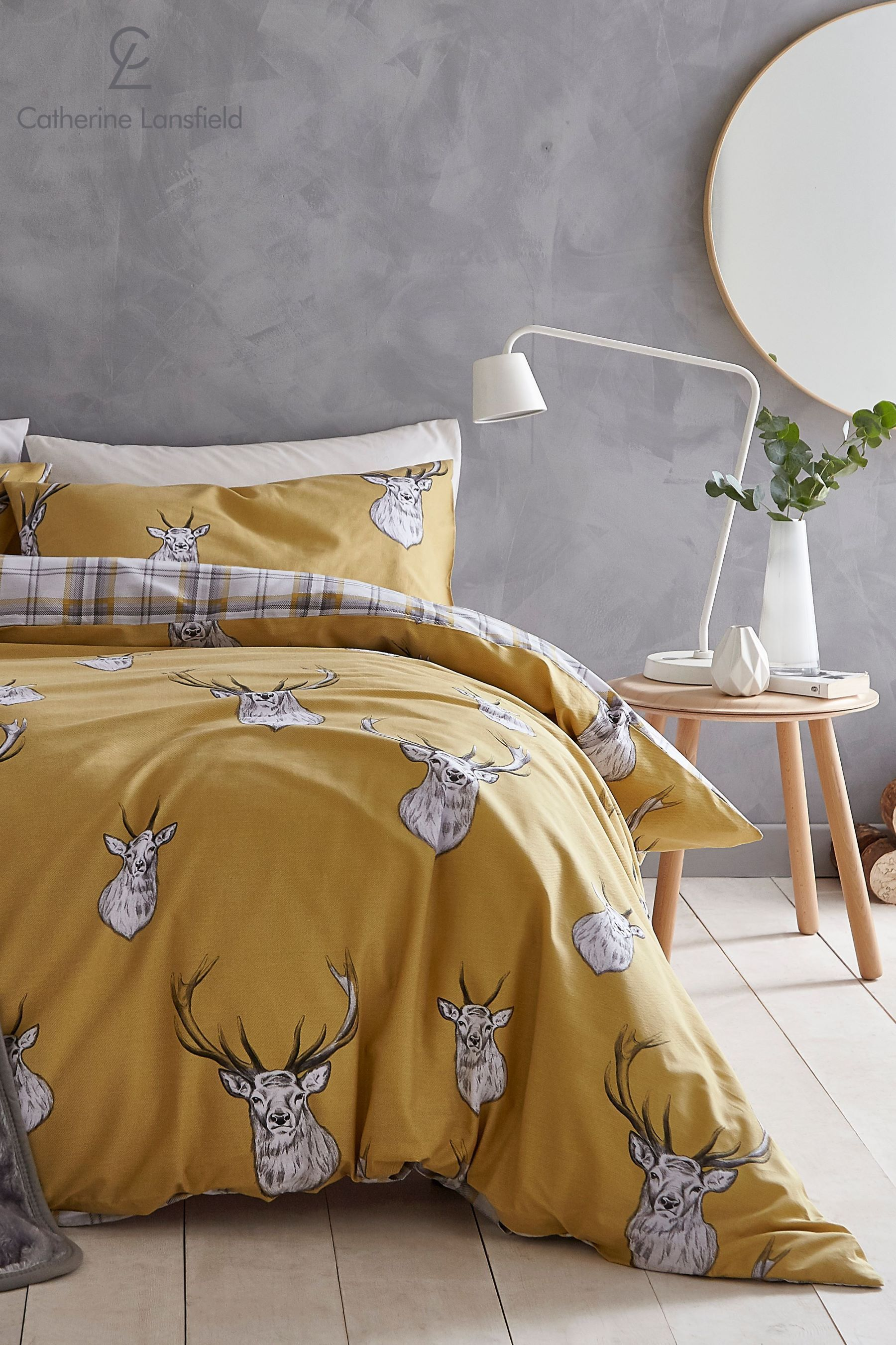 CATHERINE LANSFIELD STAG DOUBLE DUVET COVER SET BEIGE NEW DEER