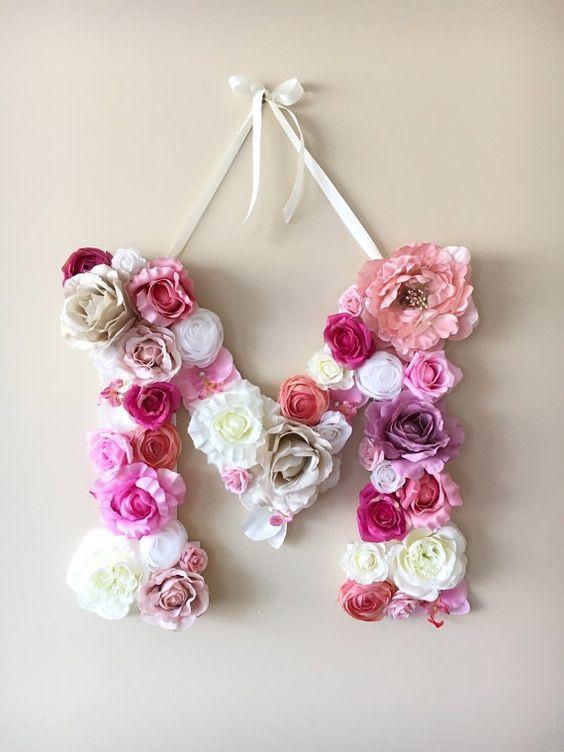 Flower Letters Fl Personalized Nursery By Pauletta Dorm Wall Decor