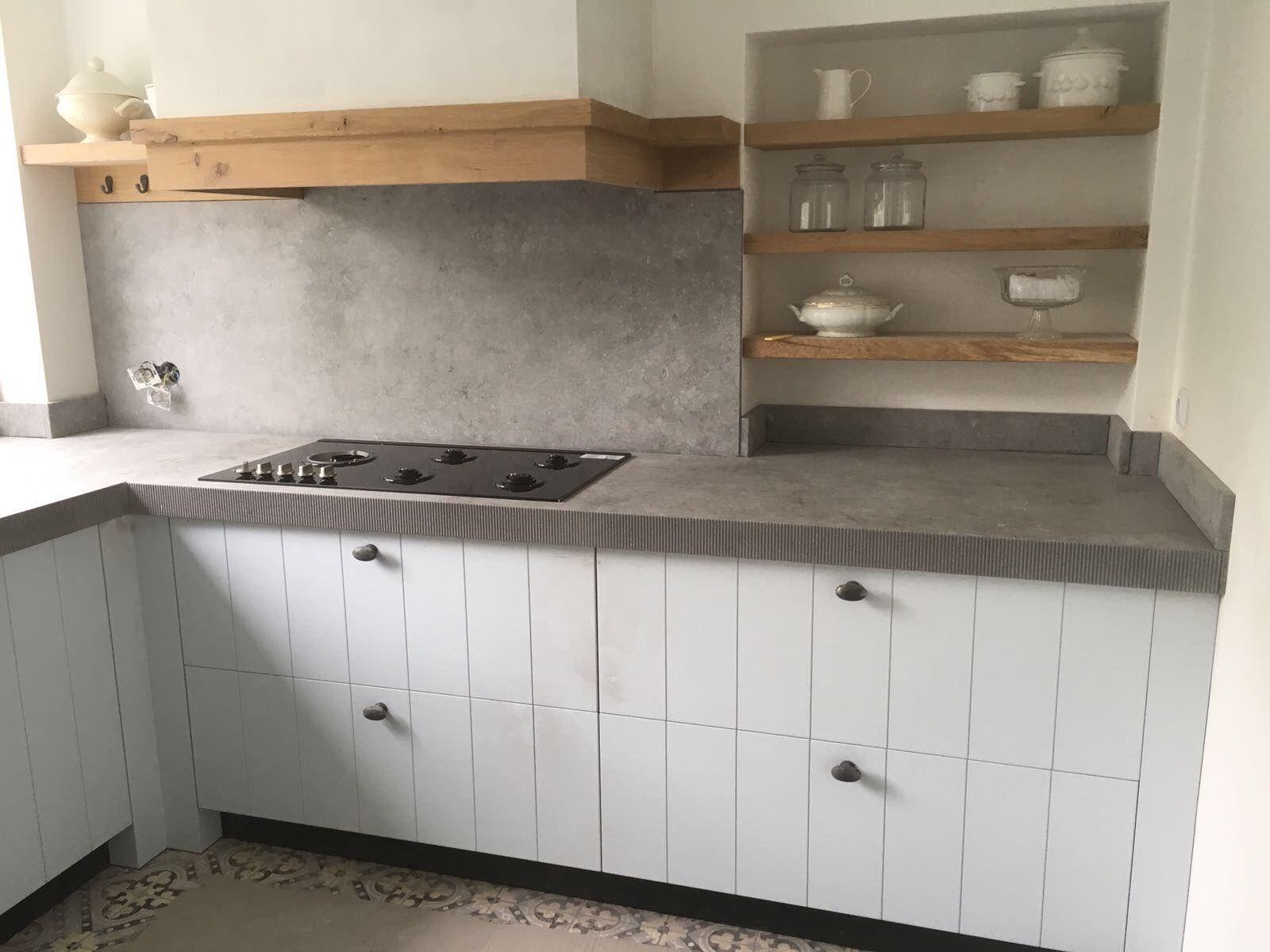 Afbeeldingsresultaat voor keramiek keukenblad betonlook keuken