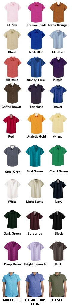 Ladies Easy Care Wrinkle Resistant Short Sleeve Shirt - All Colors Color options for Easy Care short sleeve