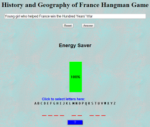 History and Geography of France Hangman Game Play online