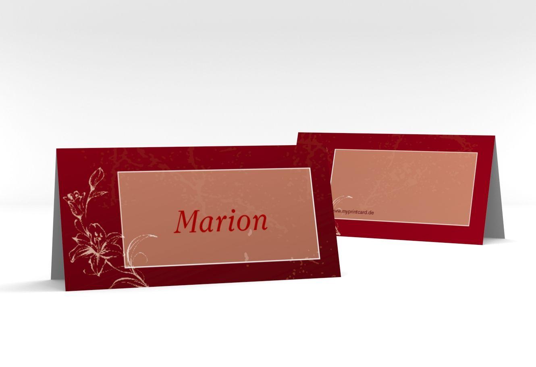 """Tischkarte Hochzeit """"Lille"""" Tischkarten rot"""