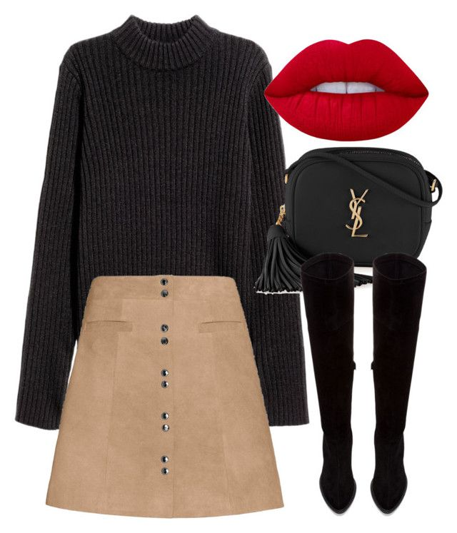 Untitled #6164 by laurenmboot on Polyvore featuring polyvore, fashion, style, Exclusive for Intermix, Zara, Yves Saint Laurent, Lime Crime and clothing