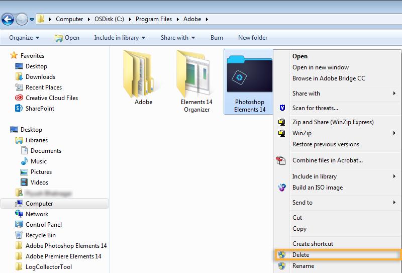 Delete Folder Delete folder, Adobe