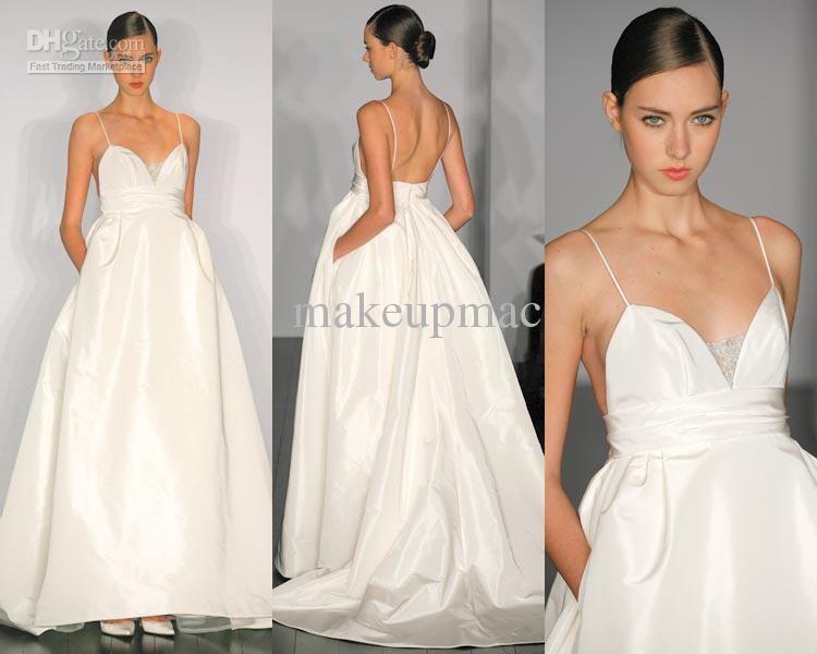 Spaghetti strap v neck taffeta a line gown wedding dress for Wedding dress spaghetti strap