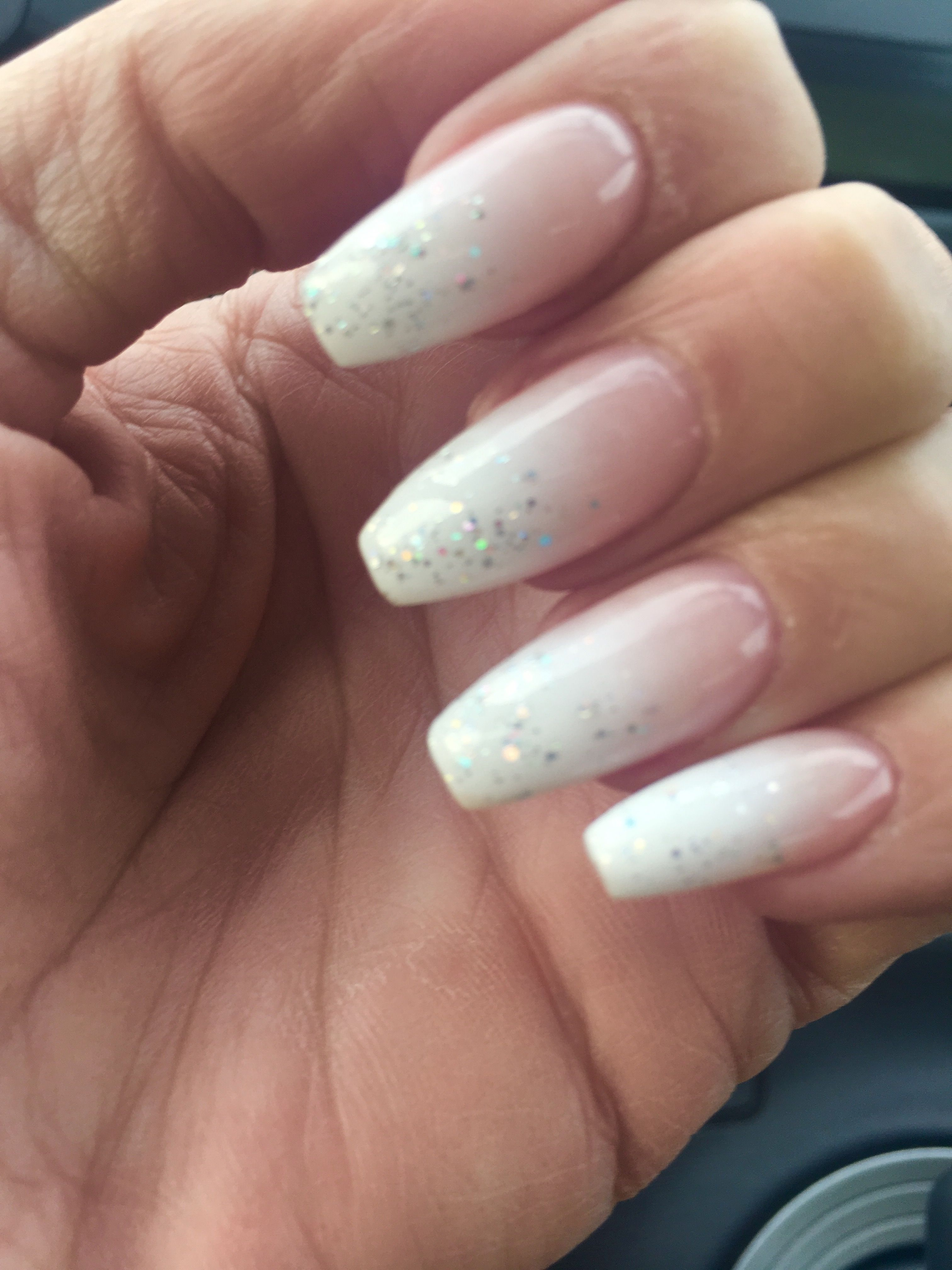 French Ombré coffin nails with a hint of sparkle✨✨ | Nails ...