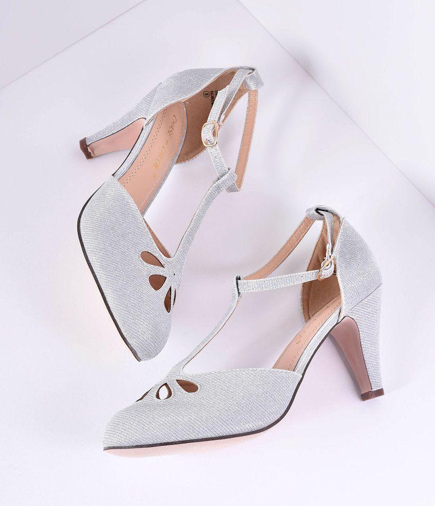 8d5f04ed028 Silver Sparkle Cutout Kimmy T-Strap Heels | Heels in 2019 | T strap ...