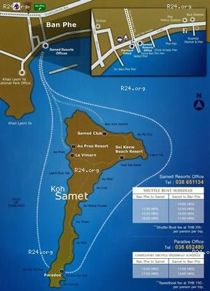 How to get to Koh Samet Samed map of ferry routes One Day