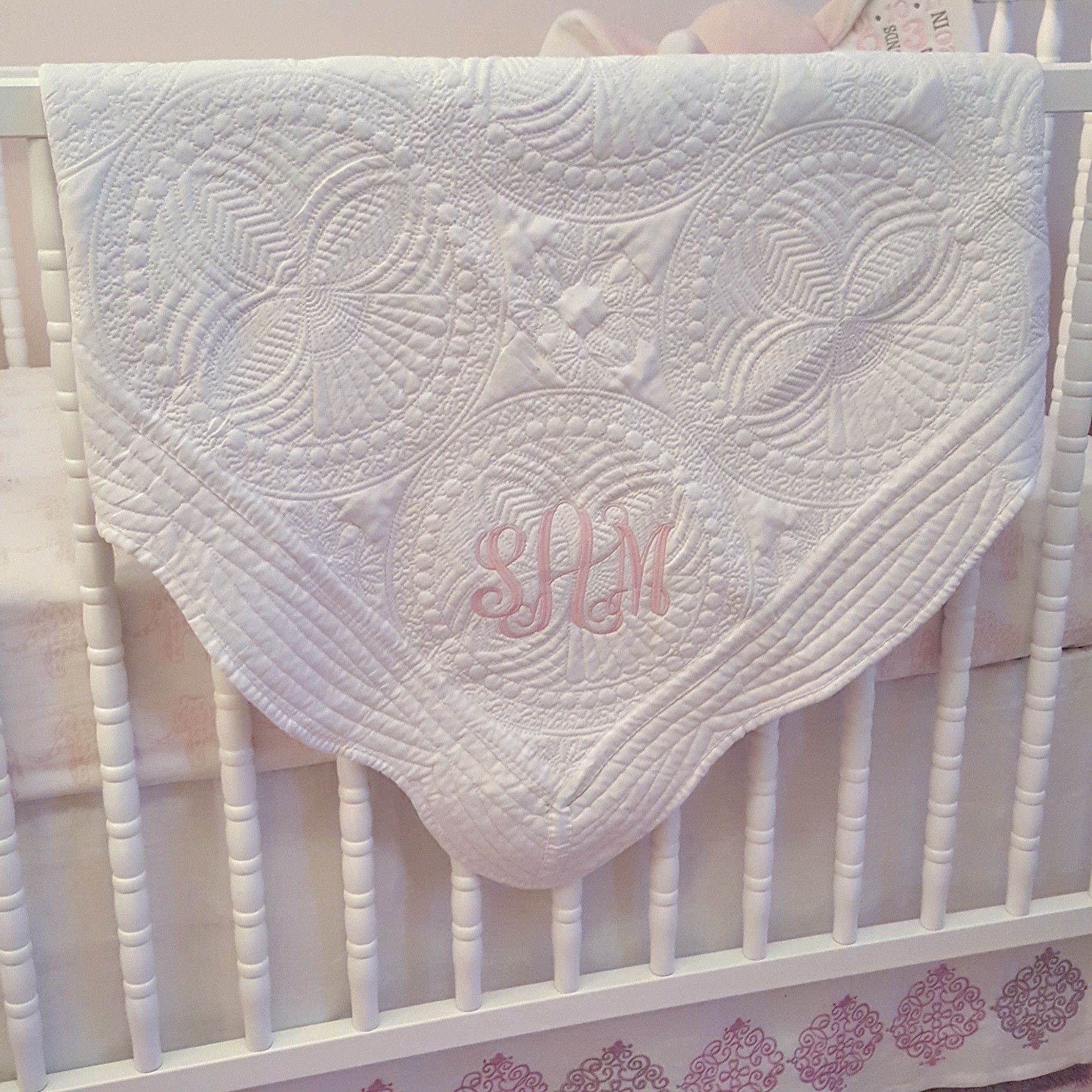 White monogrammed quilted heirloom baby quilt personalized baby white monogrammed quilted heirloom baby quilt personalized baby blanket negle Image collections
