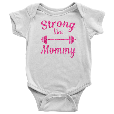 Strong Like Mommy Onesie\u00ae Just Like Mommy Baby Shirt Mommy\u2019s Workout Buddy Bodysuit Baby Clothes Barbell Baby Onesie