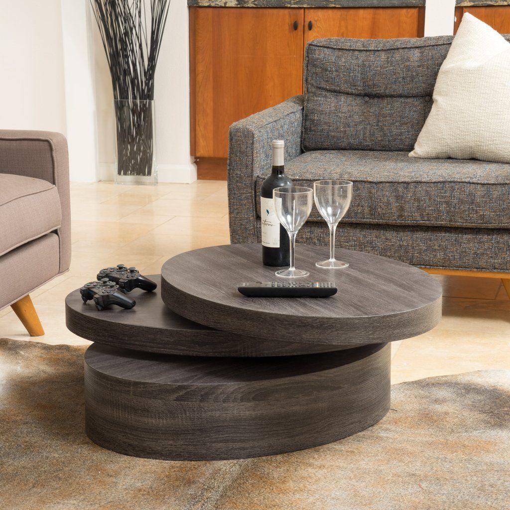 Lenox Modern Oval Black Oak Finish Faux Wood Rotating Coffee Table
