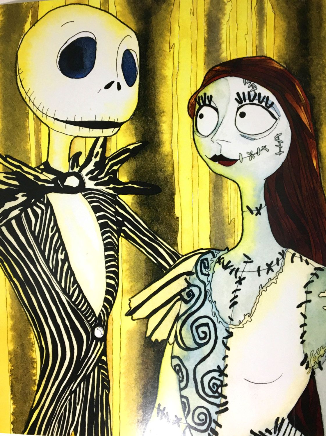 Jack and Sally Nightmare Before Christmas Art Print, Tim Burton ...