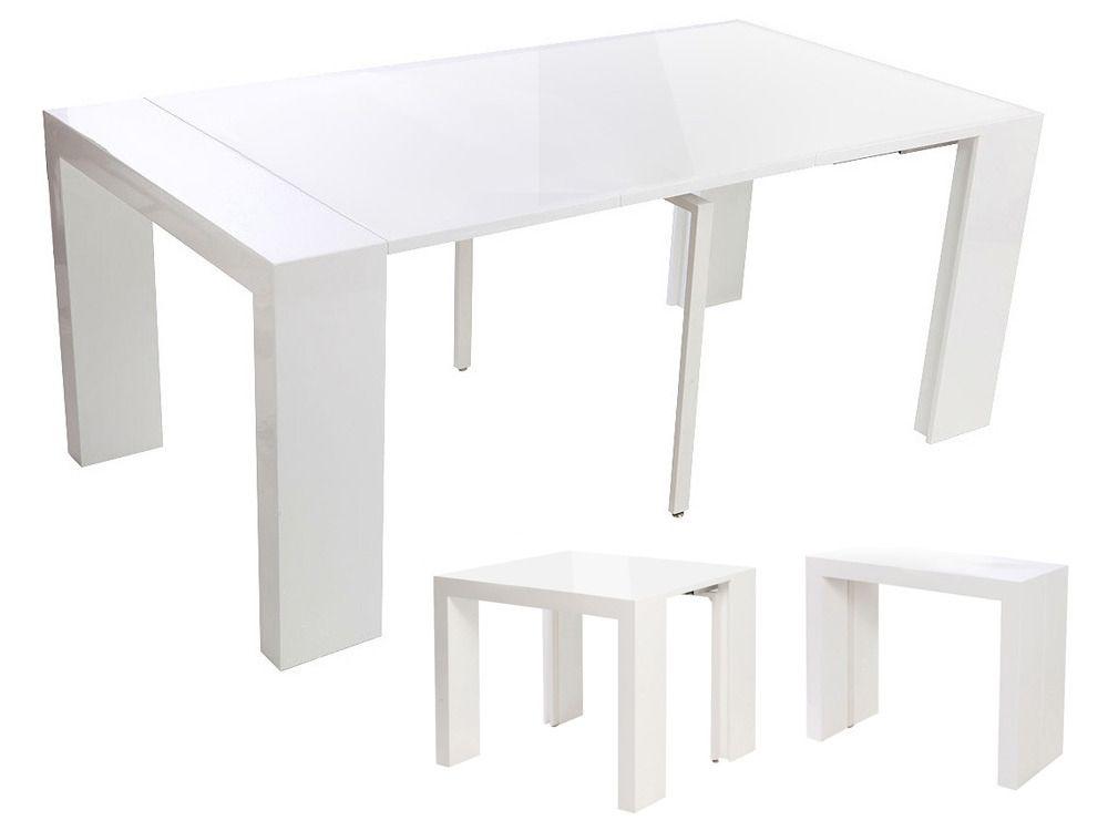 Table Console Extensible Elsa Blanc Laqué Shopping - Console extensible blanc laque pour idees de deco de cuisine
