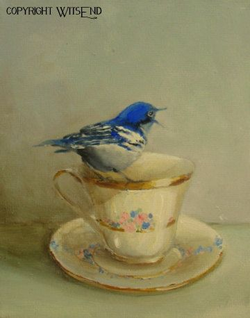 'TEA FOR A SONG', Bird Teacup painting ooak original tea cup and blue warbler still life art FREE usa shipping. by WitsEnd, via Etsy.