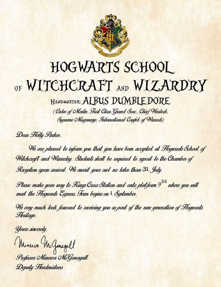 Personalized Hogwarts School of Witchcraft and Wizardry