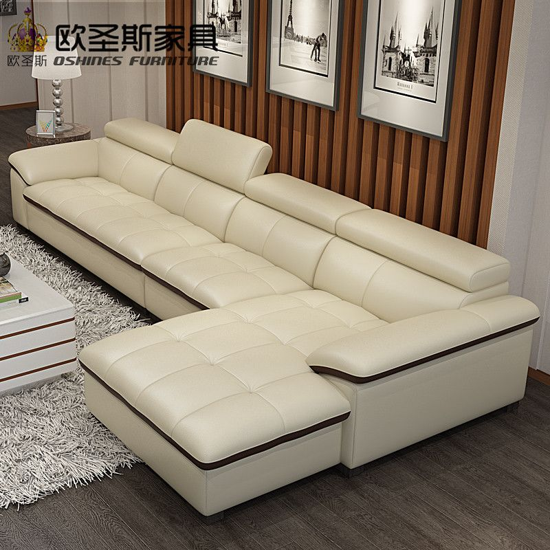 Modern Sectional Livingroom Beige Genuine Leather Sofa Set Leisure