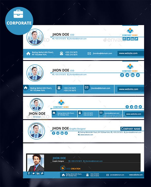 Corporate Email Signature Templates  Free Samples Examples