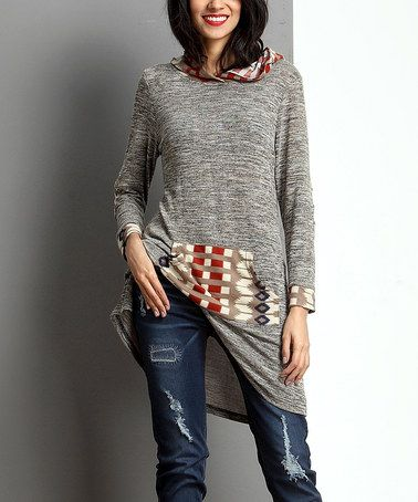 Another great find on #zulily! Oatmeal Mélange Southwest Hooded Tunic #zulilyfinds