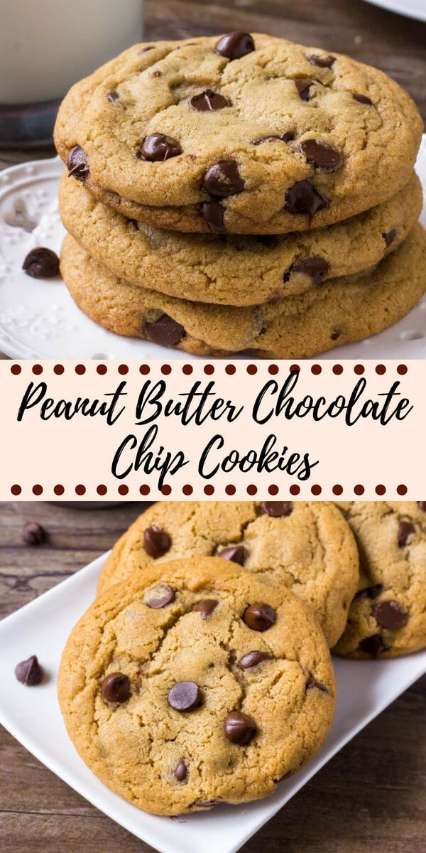 These giant peanut butter chocolate chip cookies are soft and chewy with slightly crispy edges and filled with chocolate chips An easy recipe for the best peanut butter c...