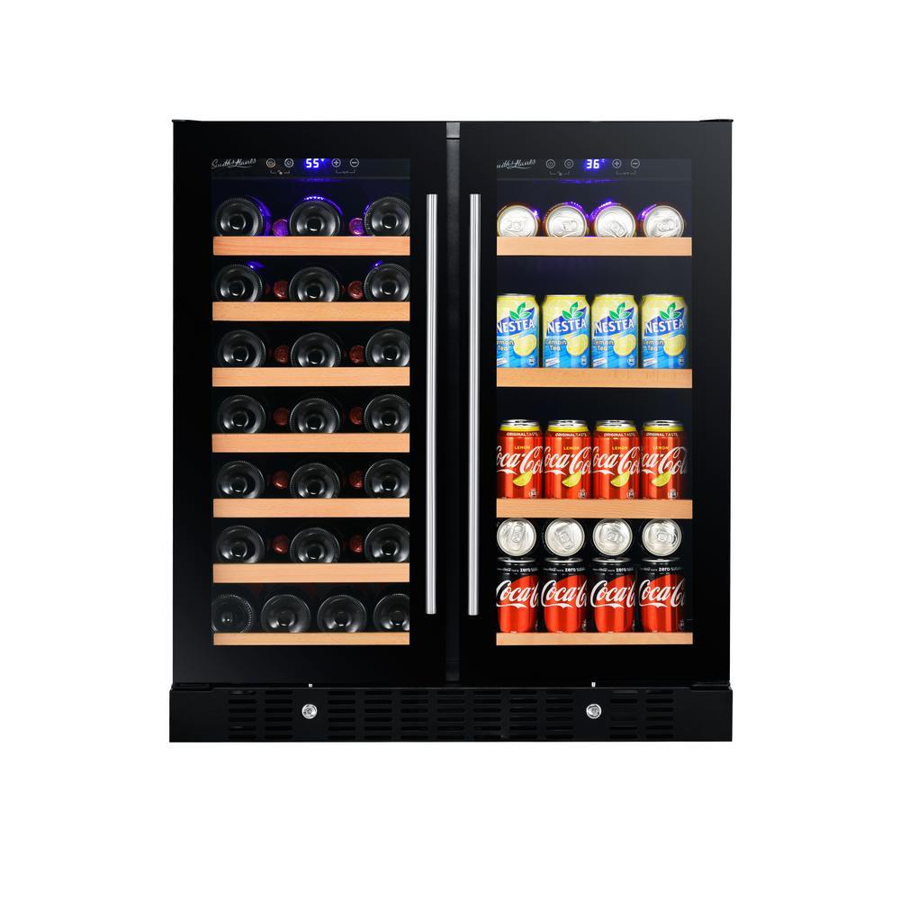 Smith Hanks 30 24 In 37 Bottle Wine And 55 Can 2 Door Beverage Cooler Glass Black Wine Coolers Drinks Wine Bottle