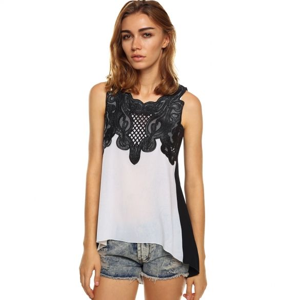 New Women's Fashion Chiffon Sleeveless Lace Splicing Irregular Shirt Blouse Tops