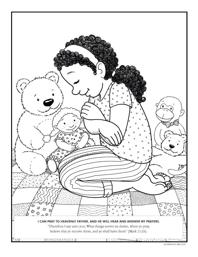 Beautiful Lds Prayer Coloring Page 3 coloring page girl praying