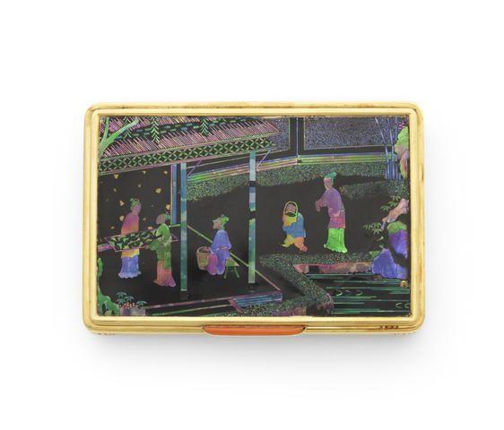 An Art Deco laque burgauté and corallium rubrum box, by Cartier, <3