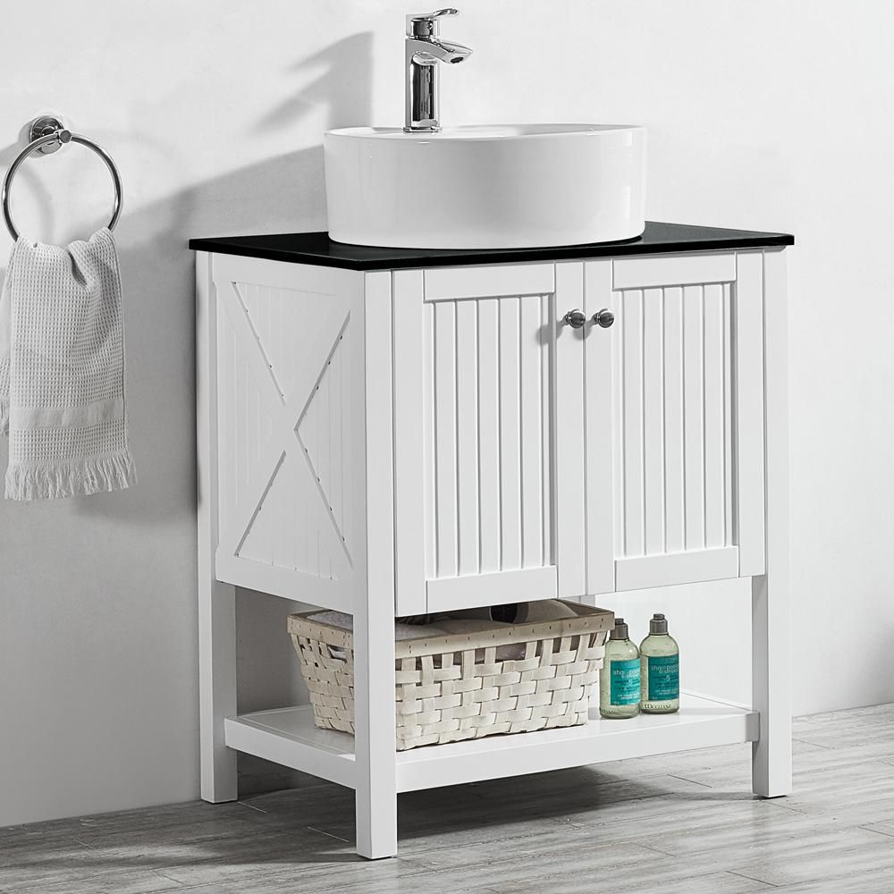 Roswell Modena 28 In W X 18 In D Vanity In White With Glass
