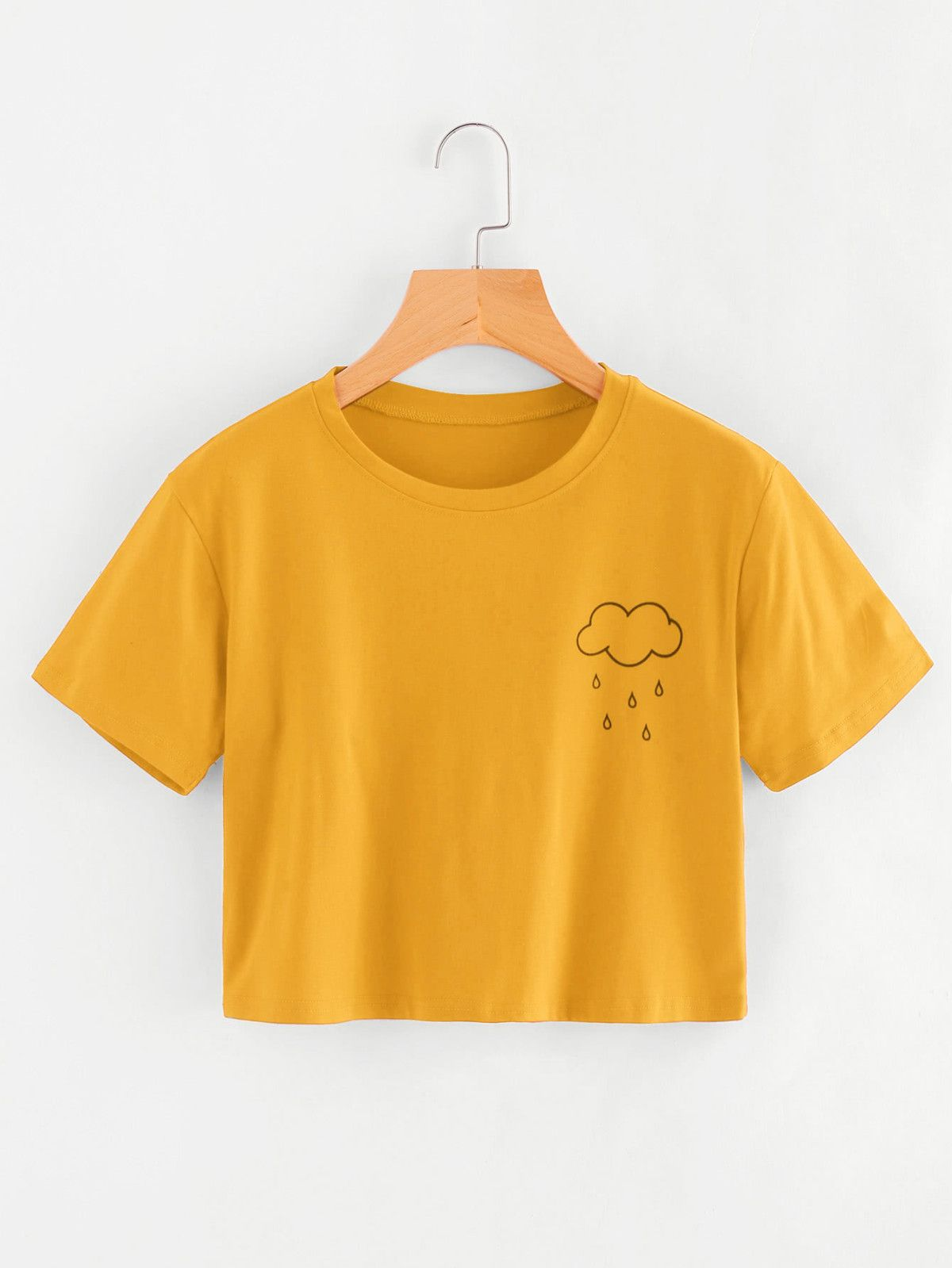 4dbdfd277e693 Yellow crop tee with rain cloud. ROMWE