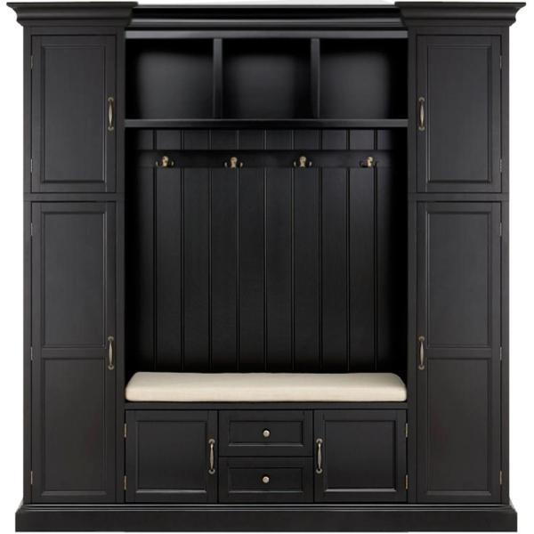 Home Decorators Collection Royce Solid Black 79 25 W Hall Tree Entryway Furniture Entryway Storage Cabinet Entryway Storage