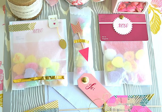 japanese washi tape, glassine bags, skewers, stamps, and paint - Sample Cards