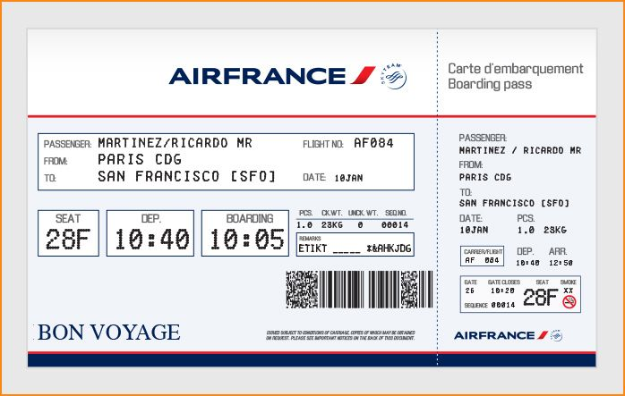 elegant airfrance airlines ticket template example with passenger information detail and blue
