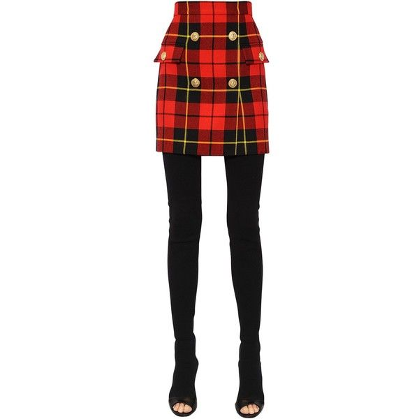 e7794baee4 Balmain Women High Waisted Plaid Wool Twill Skirt ($1,355) ❤ liked on  Polyvore featuring skirts, wool tartan skirt, wool skirt, balmain, high  waisted plaid ...