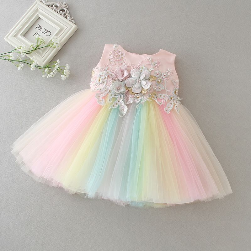 5932def8794d3 Rainbow Party Dress for Baby Girl ( 1-2 Years ) | Flower Girl ...