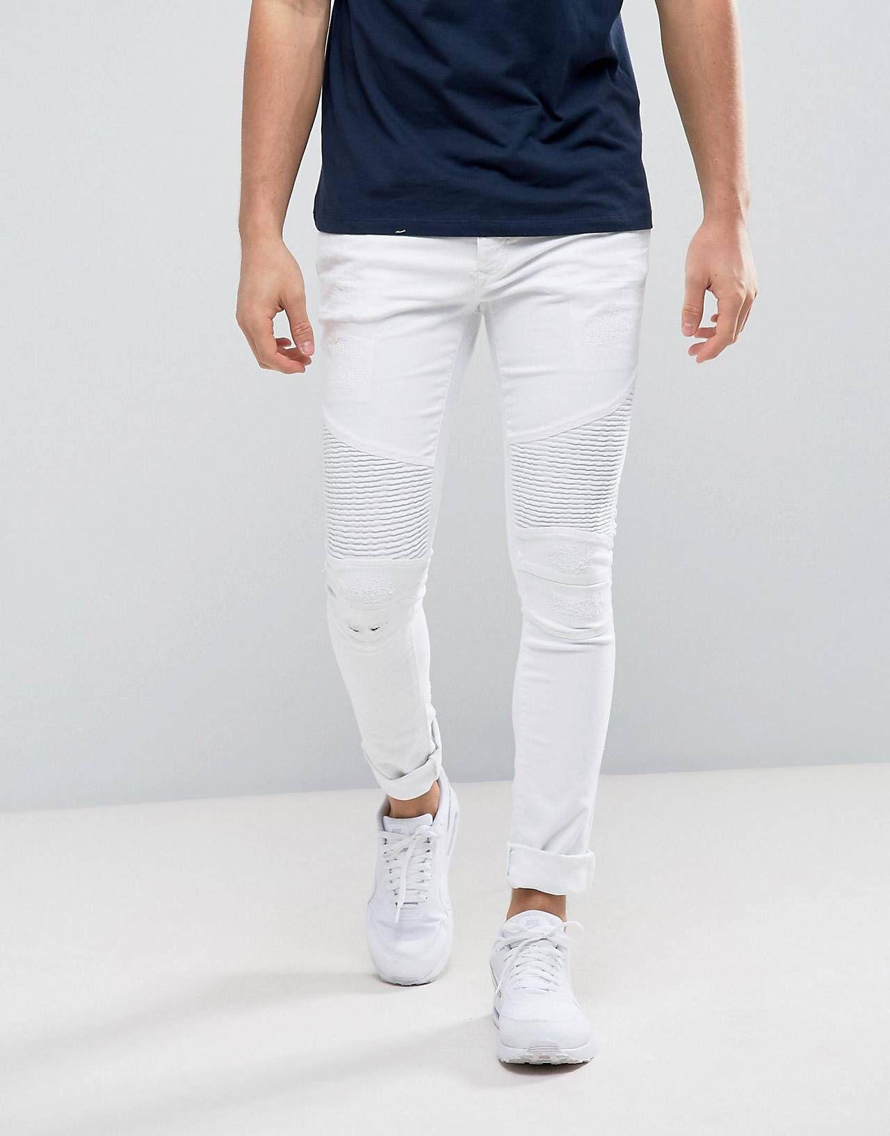 RI Biker Super Skinny White Jeans   Boys   White skinny