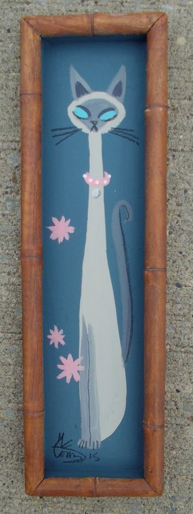 EL GATO GOMEZ PAINTING RETRO TIKI BAMBOO 1950S ASIAN SIAMESE CAT KITSCHY KITTY  #Modernism