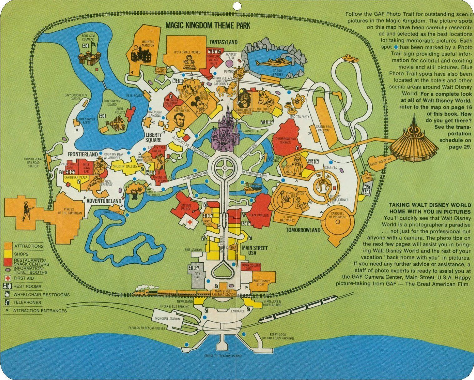 Walt Disney World theme park map from the 1970\'s replica metal sign ...
